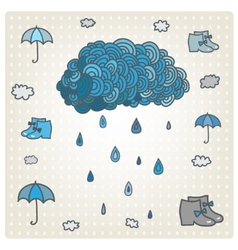 Stylizes drawn blue cloud with rain bad vector
