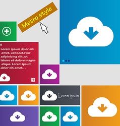 Download from cloud icon sign metro style buttons vector