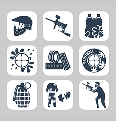 Paintball related icon set vector
