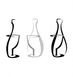 Wine bottle and glass vector