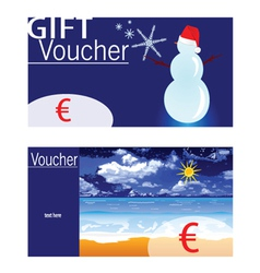 Voucher for winter and summer with snowman and vector
