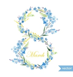 March 8 spring flowers card symbol mimosa vector