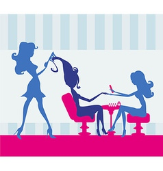 Girl in a beauty salon manicure and hairdresser vector