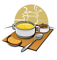 Chicken soup and croutons vector