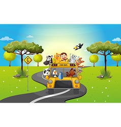 A zoo bus travelling loaded with animals vector