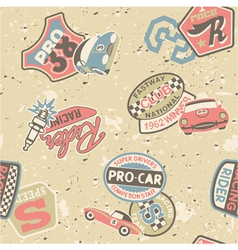 Kids racing badges elements vector