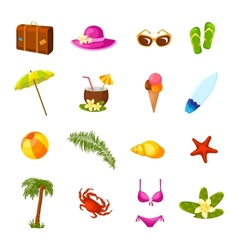 Beach multicolored icons set vector