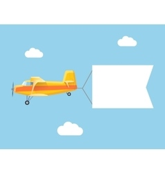 The plane flies with long banners for your text on vector