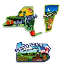 New york vermont pennsylvania scenic vector