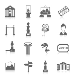 Museum icons black vector