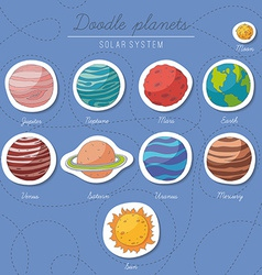 Set of doodle planet stickers vector