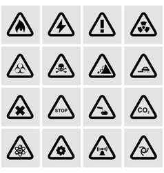 Black danger icon set vector