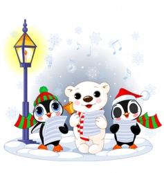 Polar bear and two penguins vector