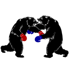 Two bear fight silhouette boxer vector