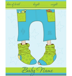 Baby boy arrival announcement card with funny sock vector
