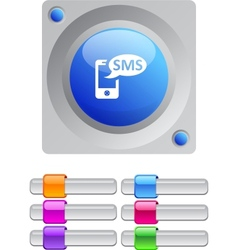 Sms color round button vector