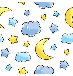 Pattern with night sky elements vector