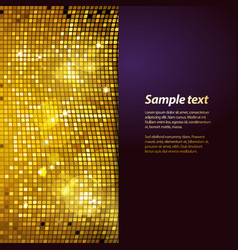 Sparkling gold mosaic and puple panel background vector