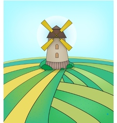 Mill on the field vector