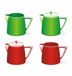 Isolated colored milk jugs set vector