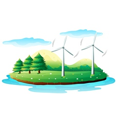 Windmills in the island vector