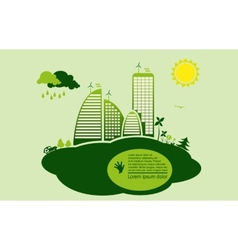 Green eco town - abstract ecology town vector
