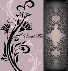 Purple floral card vector
