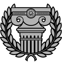 Ancient ionic column with laurel wreath vector