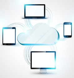 Cloud computing concept background tablet vector