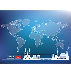 Map pin with zurich skyline vector