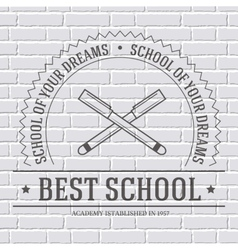 Back to school logo or template on a white brick vector