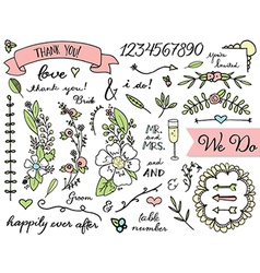 Doodle wedding clip art vector