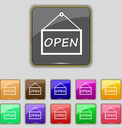 Open icon sign set with eleven colored buttons for vector