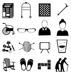 Old age retired people icons set vector