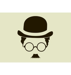 Hat with a mustache and glasses vector