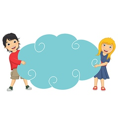 Of cute children holding cloud vector