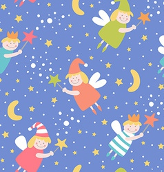 Seamless pattern with sleep fairies vector