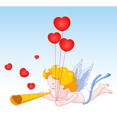 Cupid blowing horn with hearts vector