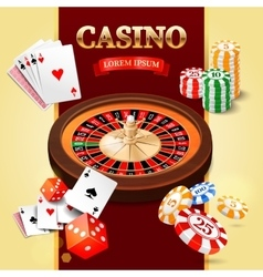 Casino background with roulette wheel game cards vector