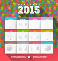 Abstract multicolored calendar of 2015 vector
