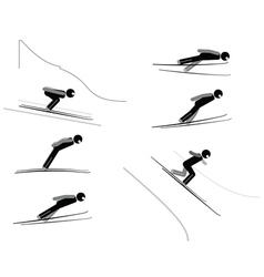 Ski jumping - pictogram set vector