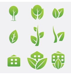 Green eco icons vector