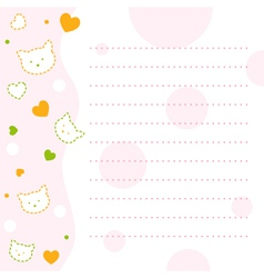 Baby kitty notepad paper vector