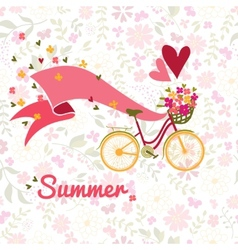 Summer bicycle and flowers background vector