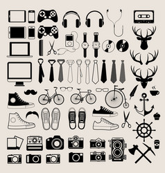 Hipster style infographics elements and icons set vector