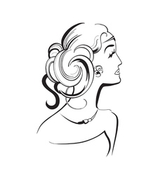 Girl with curls abstract vector