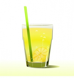 Glass of lemonade with straw vector