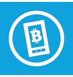 Bitcoin on screen sign icon vector