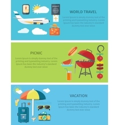 World travel picnic vacation horizontal web banner vector