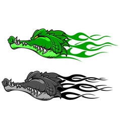 Crocodile tattoo with tribal flames vector